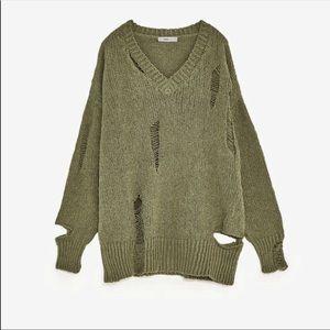 Zara Knit Sweater w/ Distressing